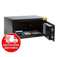 Сейф мебельный черный 22Е для дома офиса ВхШхГ 18х35х26см
