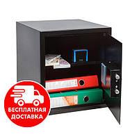 Сейф мебельный черный 36Е для дома офиса ВхШхГ 38х35х36см, фото 1