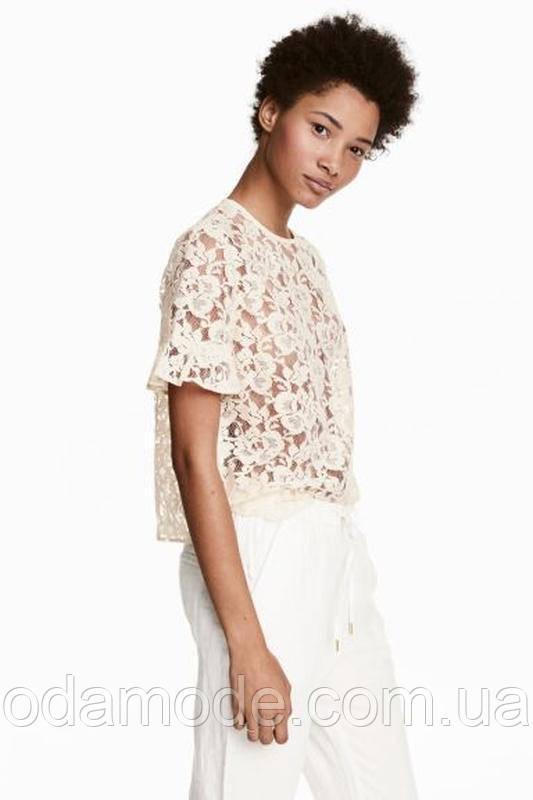 Женская блуза кружевная с коротким рукавом H&M