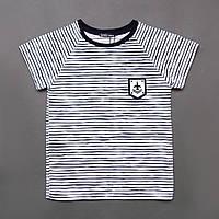 Футболка для мальчика р.116,128,140 SmileTime Strip, белый синяя полоса