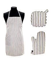 Набор для кухни фартук, прихватка, рукавица Кантри коричевый