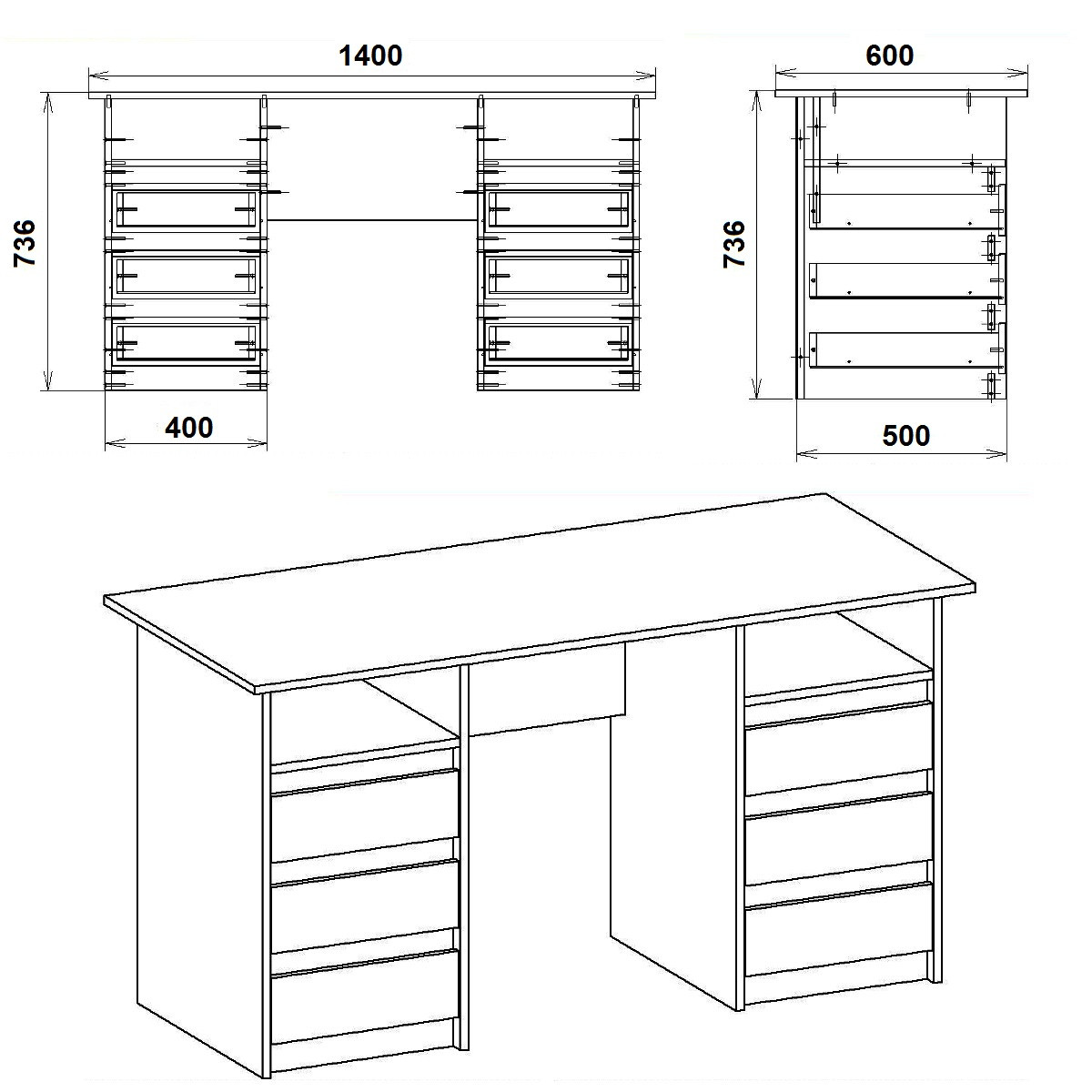 Стол письменный Декан-3 белый КОМПАНИТ (140х60х73.6 см), фото 2