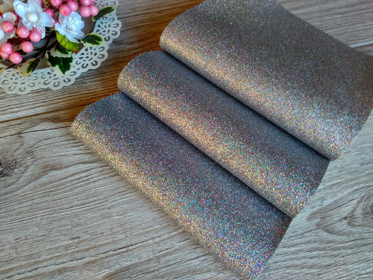 Эко кожа (кожзам) - серебро с мелким глиттером, лист 20 на 34 см. - 22 грн
