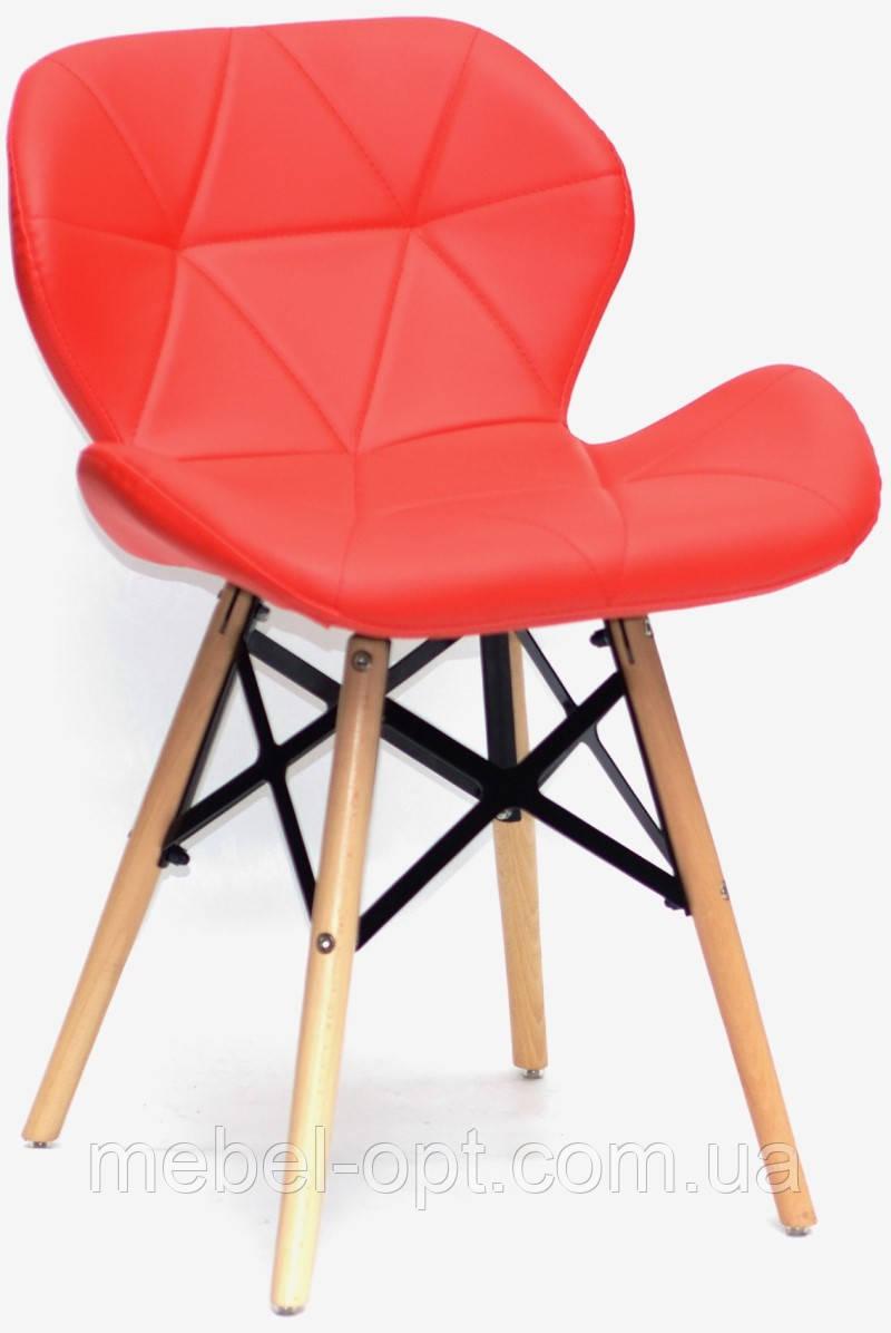 Стул Invar XXL красный 05 экокожа на буковых деревянных ножках, скандинавский стиль, дизайн Charles Eames
