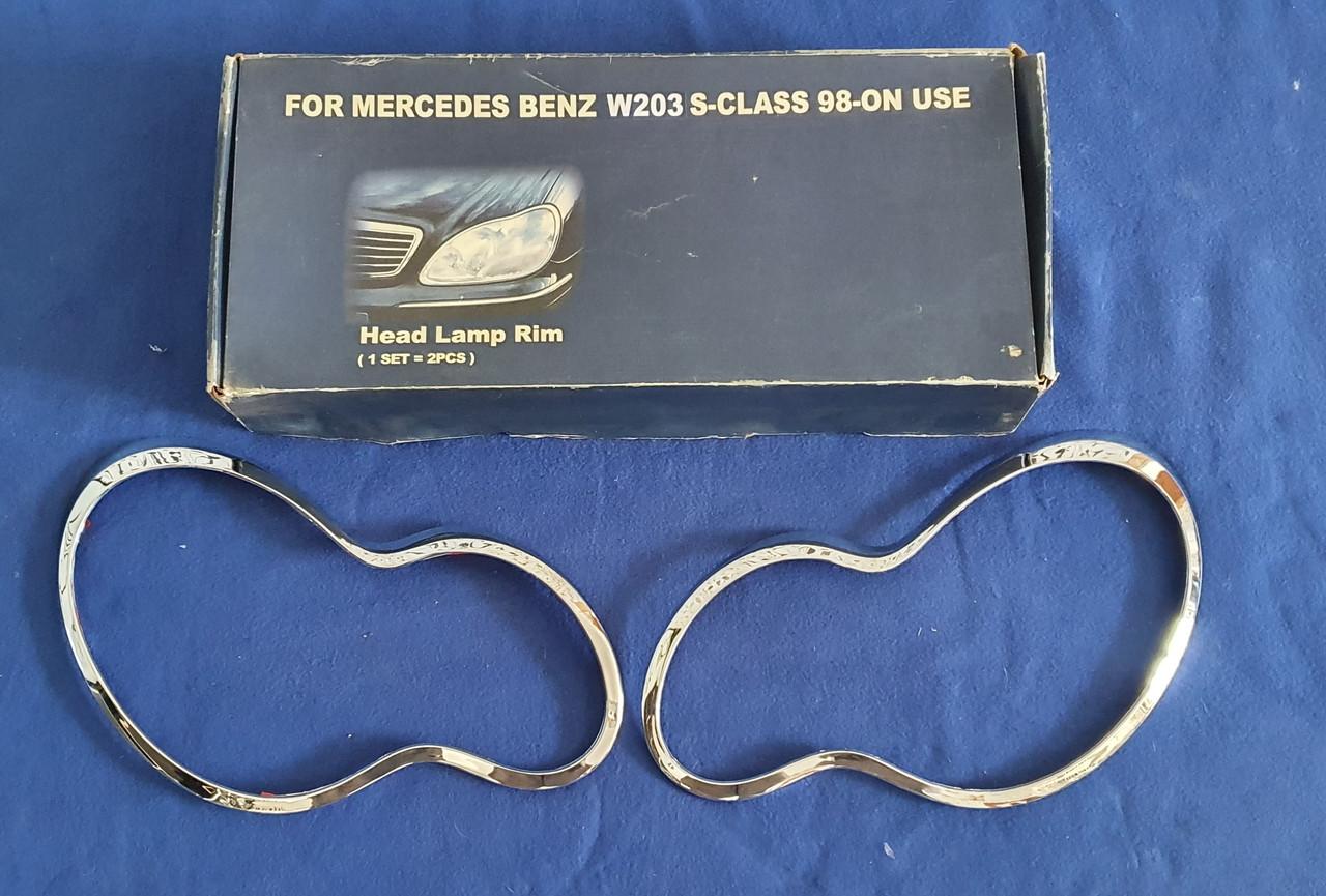 Хромированные накладки на фары Mercedes W 203