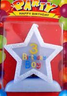 Свеча-цифра  3 звездочка