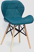 Стул Invar XXL зеленый 02 экокожа на буковых деревянных ножках, скандинавский стиль, дизайнCharles Eames
