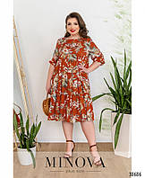 Женское платье из штапеля с цветочным принтом больших размеров