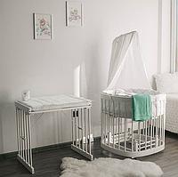 Детская деревянная кроватка-люлька 7 в 1. Приставная детская кроватка. 100% дерево