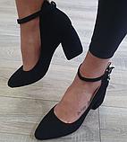 Жіночі туфлі Inshoes на каблуку чорні, фото 3