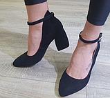 Жіночі туфлі Inshoes на каблуку чорні, фото 2