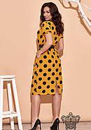 / Размер 48,50,52,54,56,58,60,62 / Женское платье в горох 34630 / цвет горчица, фото 3