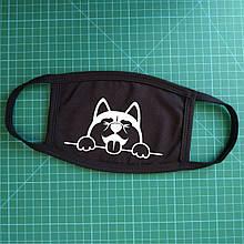 Тканевая сувенирная маска для лица. Хаски