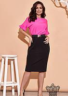 / Размер 48,50,52,54,56,58,60,62 / Женское нарядное яркое платье 34629 / цвет черный/фуксия
