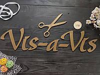 Вывеска из дерева, деревянная табличка на стену, вывеска в салон красоты. Вывеска в парикмахерскую.