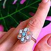 Серебряный комплект: серьги и кольцо в виде цветка с разноцветными кристалами, фото 8
