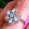 Срібний комплект: сережки і кільце у вигляді квітки з різнокольоровими кристалами, фото 6