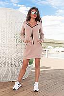 Женское спортивное платье-туничка с капюшоном и карманами (красный, хаки, черный, беж, 44-46,48-50,52-54)
