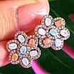 Срібний комплект: сережки і кільце у вигляді квітки з різнокольоровими кристалами, фото 4