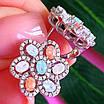 Серебряный комплект: серьги и кольцо в виде цветка с разноцветными кристалами, фото 5