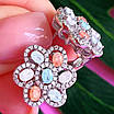 Срібний комплект: сережки і кільце у вигляді квітки з різнокольоровими кристалами, фото 2