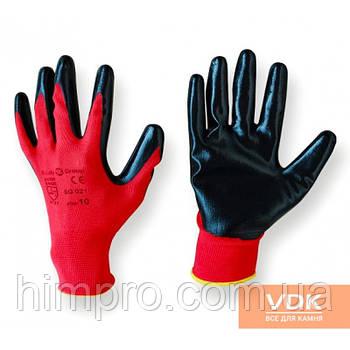 Перчатка рабочая - прорезиненная красно-черная