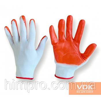 Перчатка рабочая - прорезиненная бело-оранжевые
