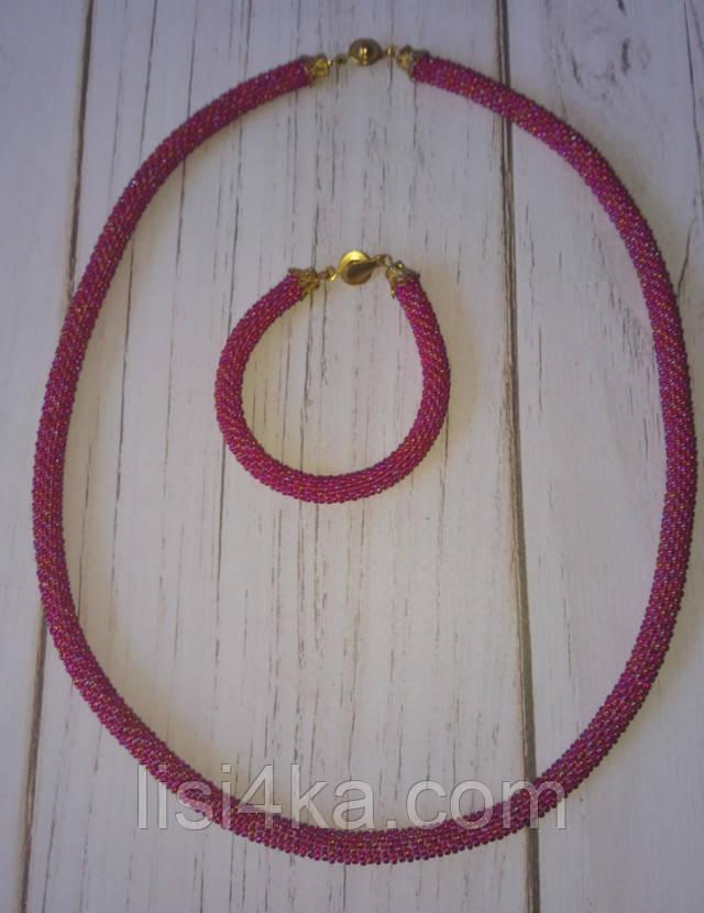 Однотонный вязаный комплект жгутов из бисера бордово-красного цвета