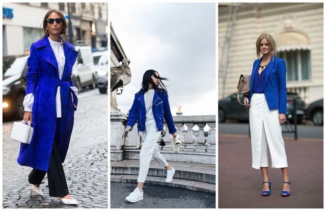 синяя кожаная куртка с чем носить