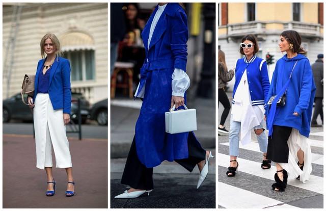 с чем носить синюю кожаную куртку