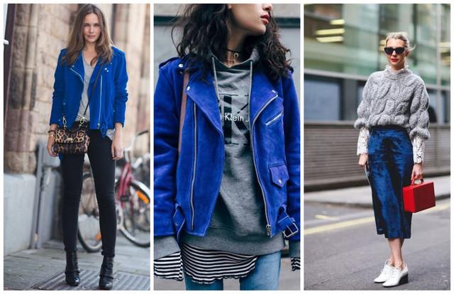 синяя кожаная куртка и серый