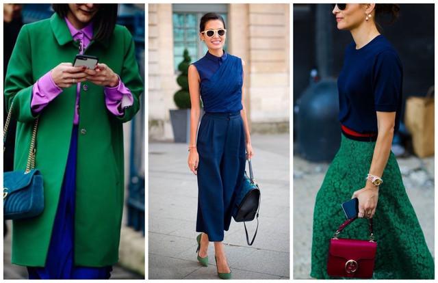 сочетание синего и зеленого цветов в одежде
