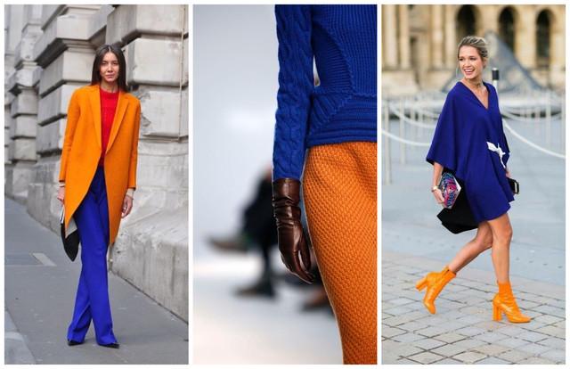 сочетание синего и оранжевого цветов в одежде