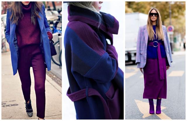 сочетание синего и фиолетового в одежде
