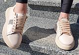 Жіночі кеди на платформі Inshoes пудрові, фото 5