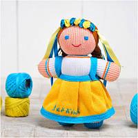 Вязаная кукла ФРЕЯ «Девочка Украиночка» (жёлто-голубая)