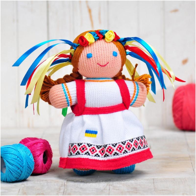 Вязаная кукла ФРЕЯ «Девочка Украиночка» (красно-белая)