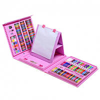 """Набір для малювання з мольбертом """"Набір юного художника"""" у чемоданчику 208 шт Super Mega Art Set рожевий"""