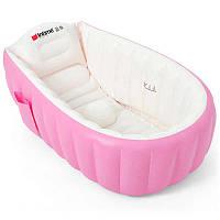 Надувная ванночка детская с подушкой и ножным насосом 98X65X28 см Intime Baby Bath Tub JS033 розовая