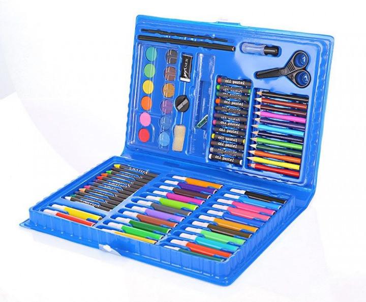 Набор для творчества детский художественный набор для рисования Art set 86 предметов голубой