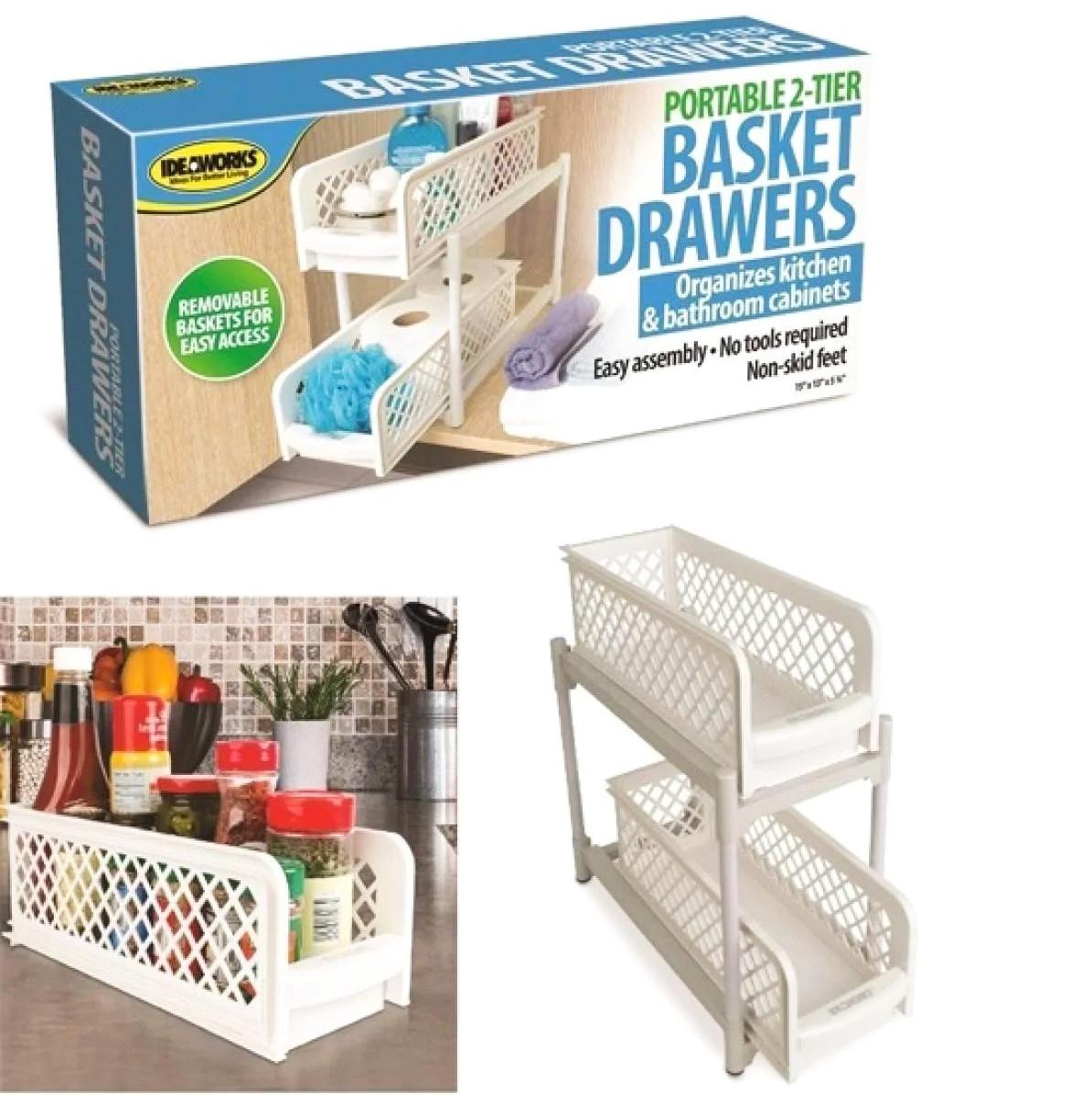 Органайзер побутової з двома висувними полицями Portable 2 Tier Basket Drawers білий