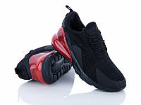 Кроссовки женские спортивные беговые дышащие в стиле Nike Air Max 270, 39 размер (черные с красным)