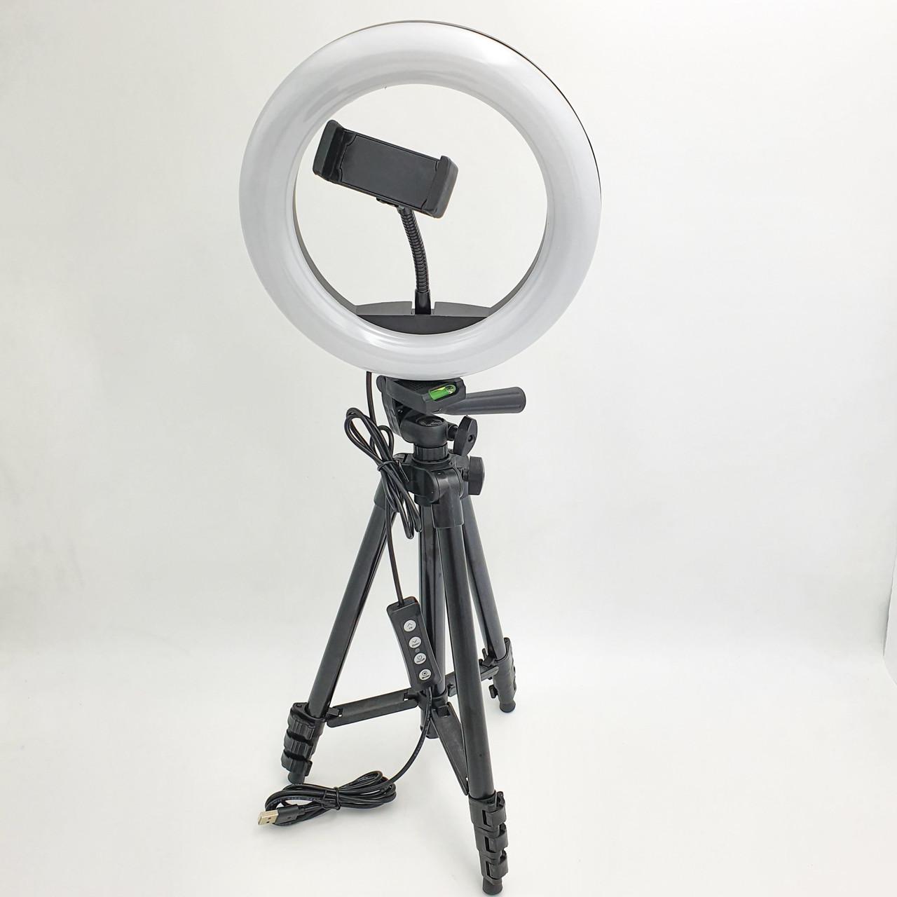 Набор блогера 2 в 1 кольцевая LED лампа 20 см 10W с держателем для телефона и штатив 102 см селфи кольцо 3