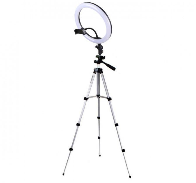 Набор блогера 2 в 1 кольцевая LED лампа 26 см 16W с держателем для телефона и штатив 102 см селфи кольцо 3