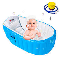 Надувная ванночка детская с подушкой и ножным насосом 98X65X28 см Intime Baby Bath Tub JS033 голубая