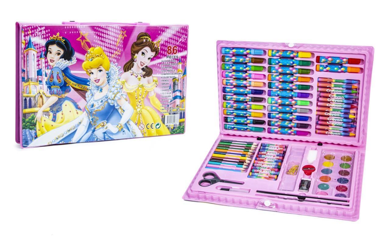 Набір для творчості дитячий художній набір для малювання Art set 86 предметів рожевий