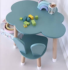 """Дитячий дерев'яний набір стіл """"хмара"""" і стільчик. 100% дерево масив бук"""