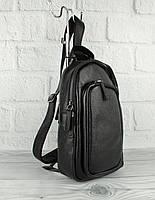 Кожаная сумка-слинг через плечо, бананка Bond Non 1195-281 черная, Турция, фото 1