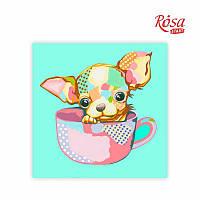 Полотно на картоні з контуром, «Pop Art Puppy», 30*30, бавовна, акрил, ROSA START GPA284311