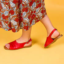 Босоножки бежевые кожаные на плоском каблуке  Размерный ряд 36-40, фото 3